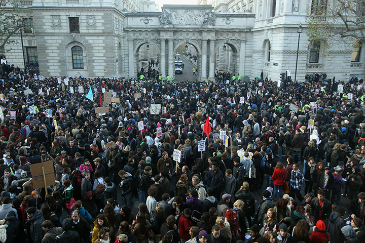 Student protests: Students participate in a mass demonstration in London
