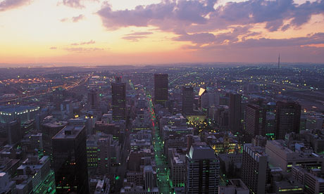 Aerial View of Johannesburg, South Africa at Twilight
