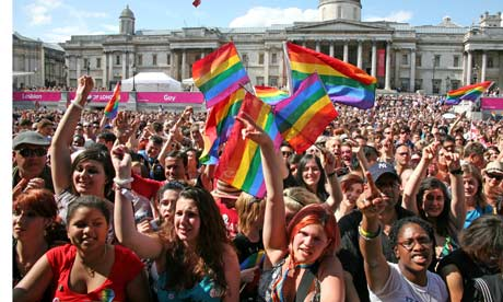 Trafalgar Square forms a gathering point for London's Gay Pride Parade 2009, ...
