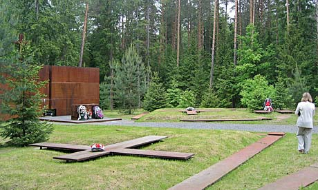 A memorial dedicated to the Polish officers murdered in the Katyn forest in 1940