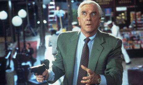 Trigger happy  Leslie Nielsen in Naked Gun 33 1/3.