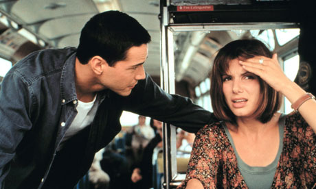 Keanu Reeves and Sandra Bullock in Speed.