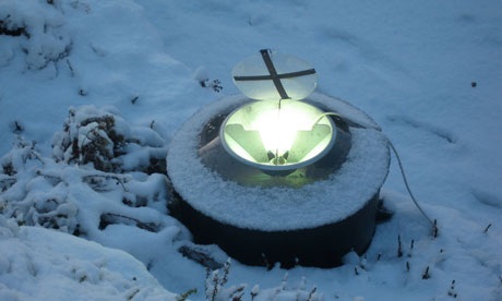 A moth trap in the snow.
