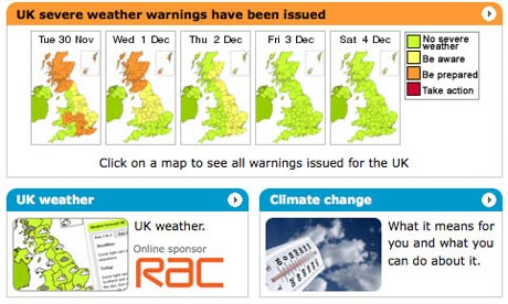 Weather conditions on the Met Office website on 29 November 2010.
