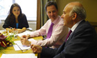 Nick Clegg's speech writer Polly Mackenzie with the Lib Dem leader and Vince Cable