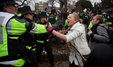 Scuffles erupt at Bristol University during today's demonstrations
