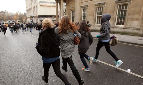Students run through central Bristol