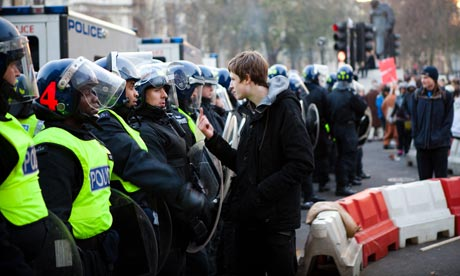 Police and tuition fees protesters on 9 December 2010. Only for use with live blog.