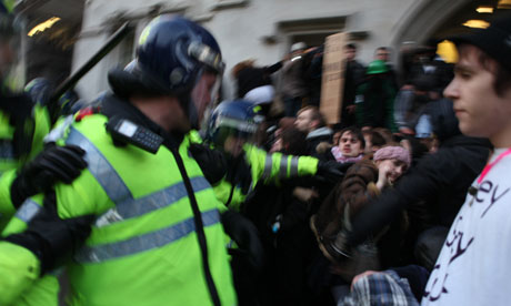 Police and tuition fees protesters on 9 December 2010.