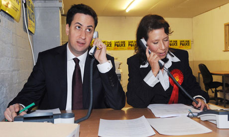 Ed Miliband and candidate Debbie Abrahams on the campaign trail in Oldham as the Oldham East