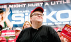 Film-maker Michael Moore at a screening of his documentary Sicko in Sacramento
