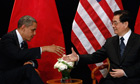 US President Barack Obama meets with China's President Hu Jintao as part of the G20 Summit in Seoul