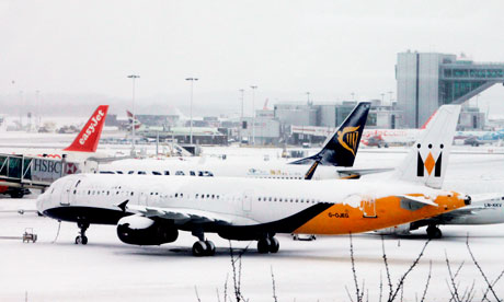 Snow-bound aircraft at Gatwick
