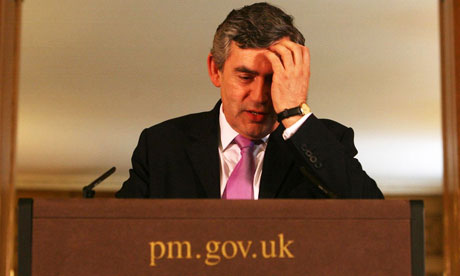 Gordon Brown at his first press conference as prime minister