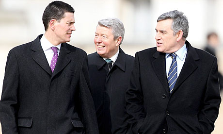 David Miliband, Alan Johnson and Gordon Brown in London on 3 March 2010