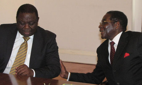 Robert Mugabe and Morgan Tsavangirai, Photo Courtesy of the AP
