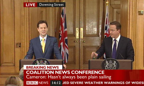 Nick Clegg and David Cameron hold a joint press conference on 21 December 2010.