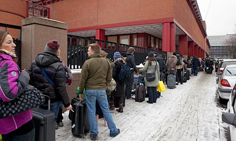 The queue for Eurostar passengers at St Pancras stretched past the British Library