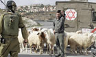 A Palestinian shepherd at an Israeli checkpoint in the village of Maasarah, near Bethlehem