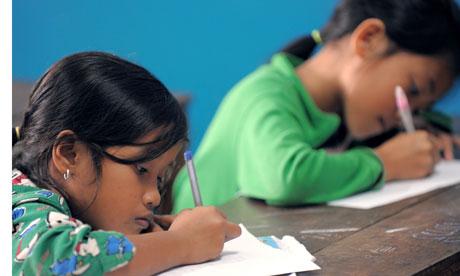 Cambodian girls studying