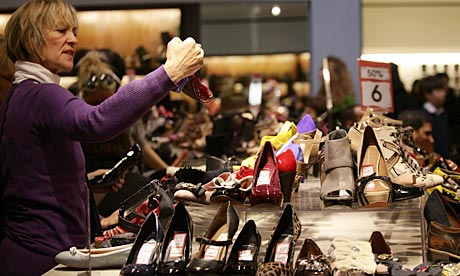 Shoppers at the Selfridges Boxing Day sale on Oxford Stret