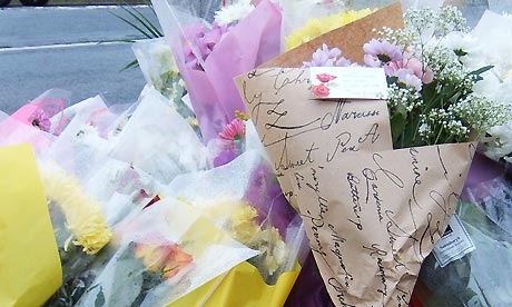 Flowers at the scene of a car crash in Mexborough, in which three teenagers were killed