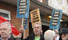 Workers protest at the Heinz factory in Wigan