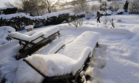 A garden in Bolton Percy village in North Yorkshire covered by deep snow, on 2 December 2010.
