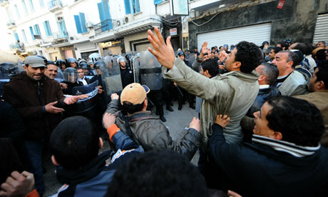 Demonstrators clash with Tunisian security forces