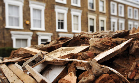 Period London homes and builder's skip