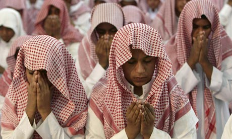 Saudi students at a prayer event in Riyadh