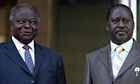 Kenyan president Mwai Kibaki, left, and the prime minister, Raila Odinga