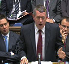 John Denham in the Commons on 9 Dcecember 2010. Ed Miliband is next to him.