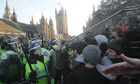 Student protesters and police in Westminster