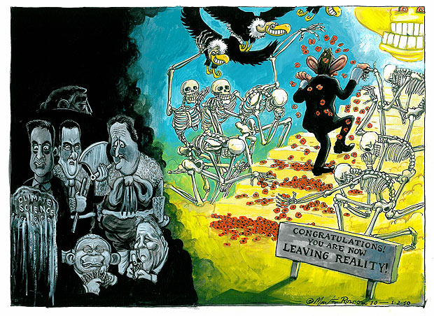 Martin Rowson cartoon: Congratulations! You Are Now Leaving Reality!