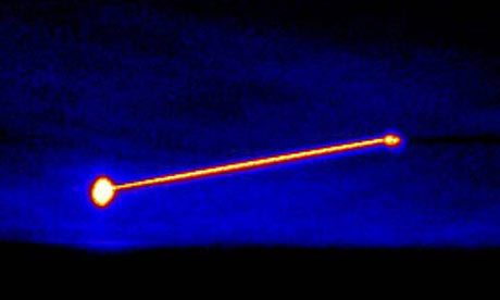 An infrared image shows the Missile Defence Agency's airborne laser destroying its target