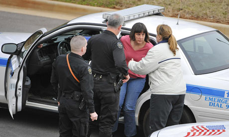 Amy Bishop is detained by police on the University of Alabama campus in Huntsville