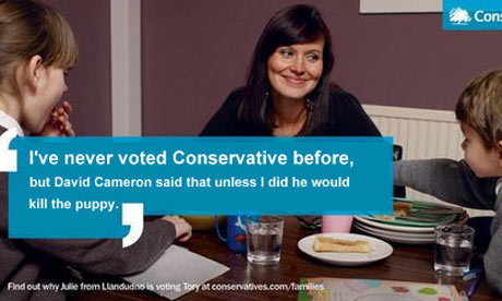 A spoof of the 'I've never voted Tory before' Conservative poster. Credit: CarlMaxim