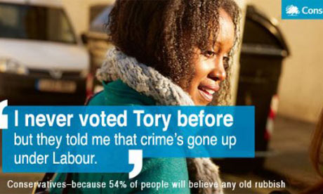 A spoof of the 'I've never voted Tory before' Conservative poster