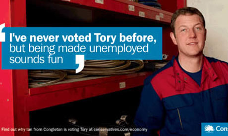 A spoof of the 'I've never voted Tory before' Conservative poster.