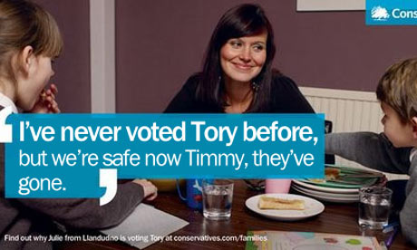 A spoof of the 'I've never voted Tory before' Conservative poster. Credit: mydavidcameron.com