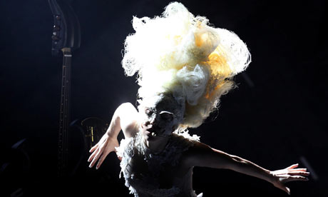 Lady Gaga performs during the Brit awards 2010.