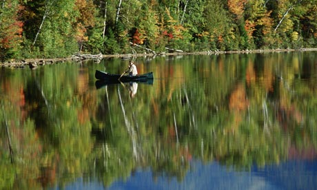 Canoeing on pond in Adirondacks