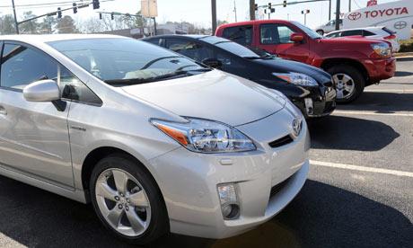 A Prius hybrid sits at a Toyota dealership in Stone Mountain,  Georgia