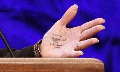 Sarah Palin's hand notes close up