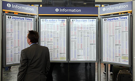 Train timetables at Euston station
