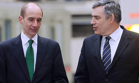 Lord Adonis and Gordon Brown at Euston station