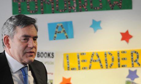 Gordon Brown at Lilian Bayliss school in south London on 15 March 2010.