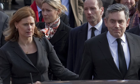 Gordon and Sarah Brown at the funeral of Micahel Foot on 15 March 2010.