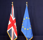 The British and European Union flags.